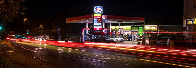 Greenergy, Esso Service Station, Leatherhead, night, 2015