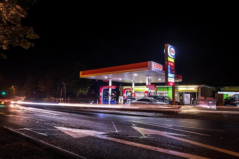 Greenergy, Esso Service Station, Leatherhead, night, 2015
