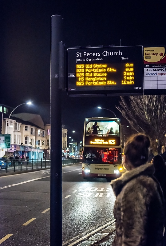 Night Buses, Brighton and Hove Bus company, 2015
