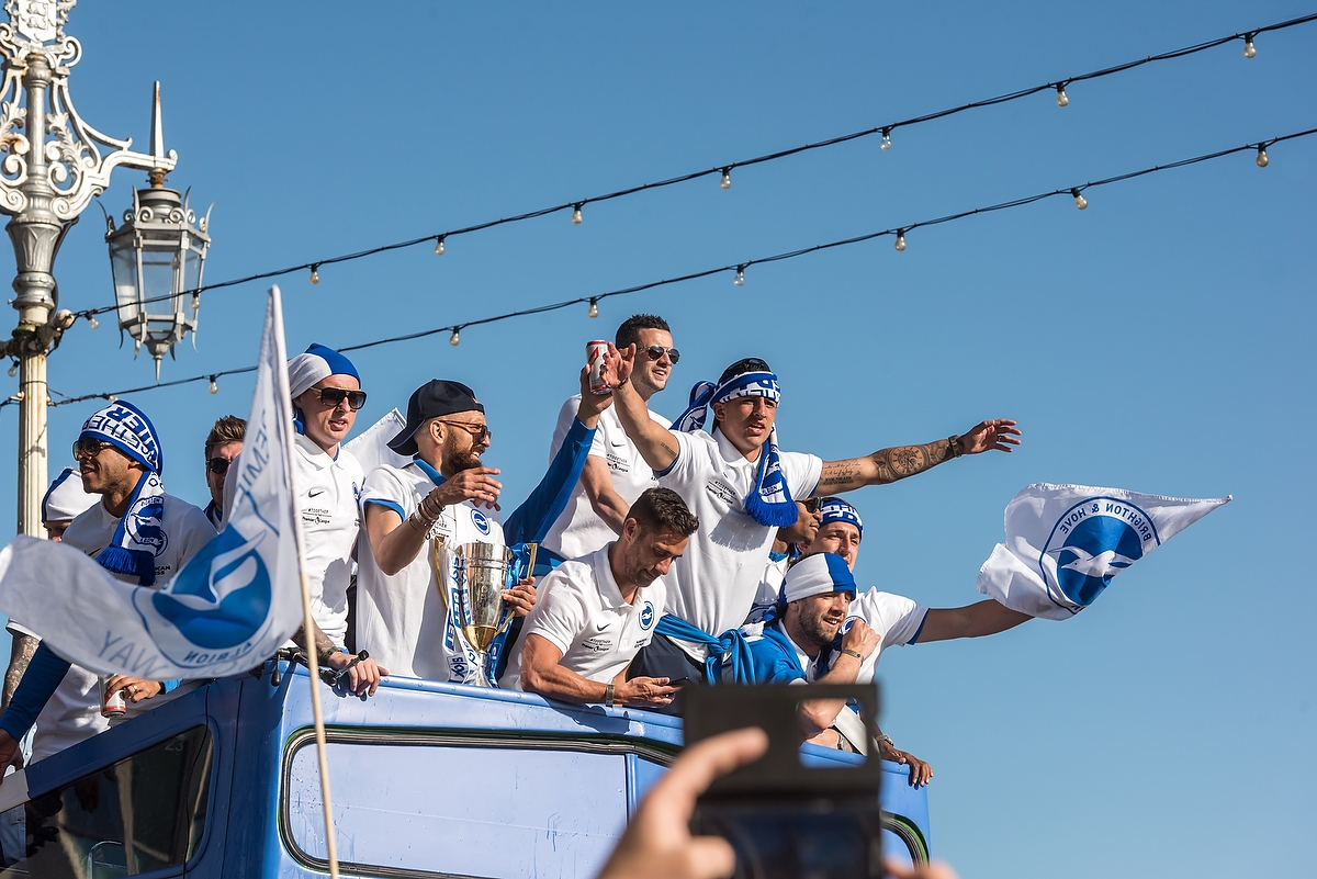 Brighton and Hove, Foot ball Club, Bus and Coach company, promotion, seafront, parade, 2017